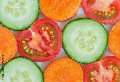 Fotografie, Obraz  Colorful sliced vegetables close up
