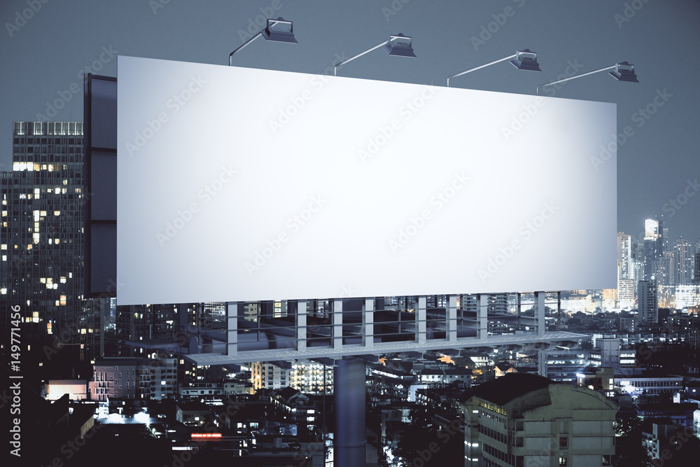 Fototapety, obrazy: Billboard on night city background side