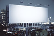 canvas print picture - Billboard on night city background side
