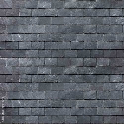 Fotografie, Obraz  Roof (wall) of the Silesian black shale. Slate roofing tiles