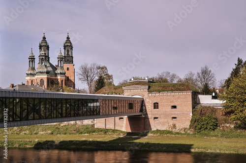 Fotografie, Obraz  Prussian fortifications and towers of the Gothic cathedral cathedral in Poznan