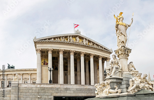 main entrance of Austrian parliament building in Greek style with statues of phi Canvas Print