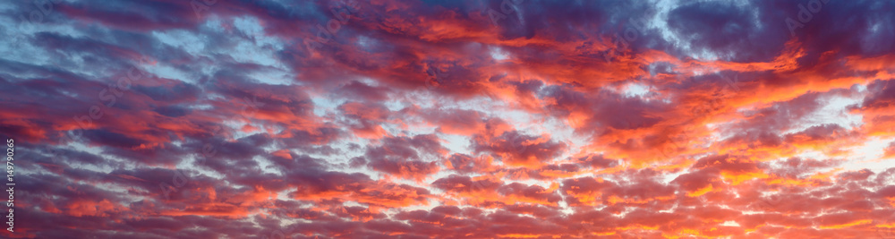 Fototapeta Panoramic view the blood red evening sky and amazing clouds.