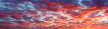 Panoramic View The Blood Red Evening Sky And Amazing Clouds.