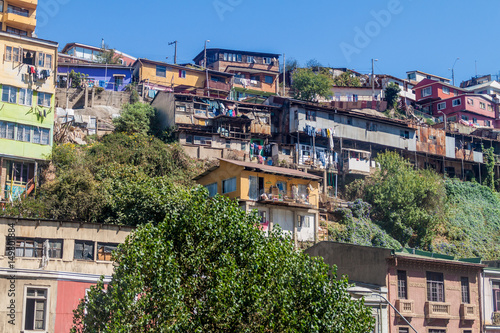 Photo Stands Paris Colorfull houses on hills of Valparaiso, Chile