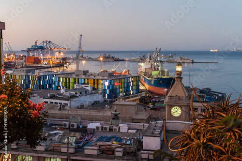 VALPARAISO, CHILE - MARCH 29, 2015: Evening view of a port in Valparaiso, Chile
