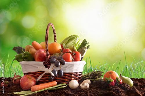owoce-i-warzywa-na-ziemi-w-uroczym-koszyczku