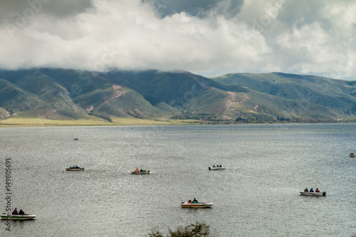 Boats at Dique la Angostura reservoir near Tafi del Valle, Argentina Wallpaper Mural