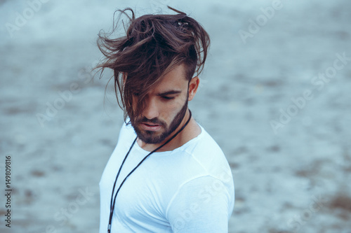 Fotografie, Obraz  Portrait of a man with beard and modern hairstyle