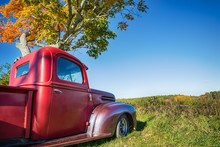 Old Red Farm Truck Parked Under Autumn Tree