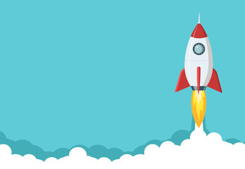 Fototapeta Rocket launch illustration. Business or project startup banner concept. Flat style illustration.