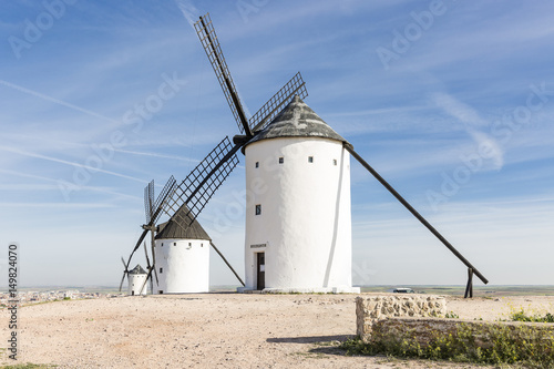 Fotobehang Molens white windmills in Alcazar de San Juan, province of Ciudad Real, Castilla-La Mancha, Spain