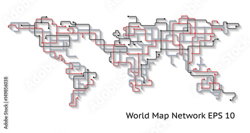 World Earth Map Network abstract concept with Shadows showing connectivity