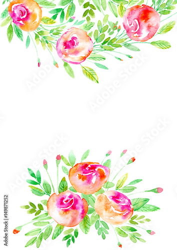 Fototapety, obrazy: Floral frame.Garland of a roses branches.Watercolor hand drawn illustration.It can be used for greeting cards, posters, wedding cards.
