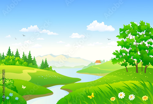 Poster Lime groen Green forest and river