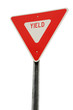 canvas print picture - yield sign isolated on white background