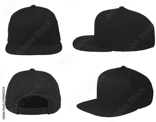 Fototapeta Mock up blank flat snap back hat black isolated view set on white background obraz
