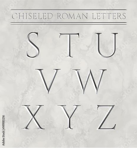 Fotografie, Obraz  Roman letters chiseled in marble stone
