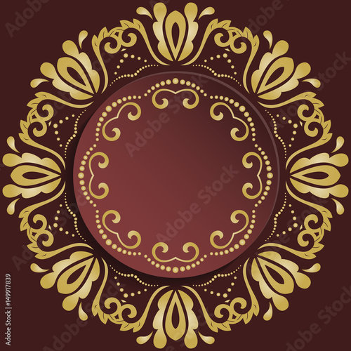 Nice frame with floral elements and arabesques. Brown and golden greeting card