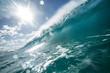 Bright ocean wave closing barrel