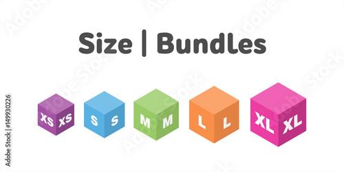 Photo  Different size bundles icons set