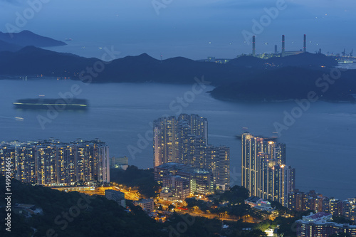 Seaside High rise residential building in Hong Kong city Poster