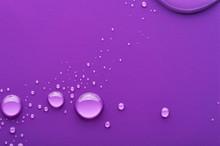 Water Drops On A Purple Backgr...