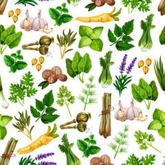 Fototapeta Przyprawy Vector seamless pattern of spice herb seasonings