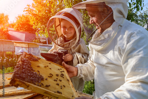 Experienced beekeeper grandfather teaches his grandson caring for bees. Apiculture. The transfer of experience.