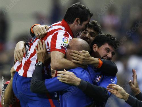 Atletico Madrid S Antonio Lopez Celebrates His Goal Against Zaragoza