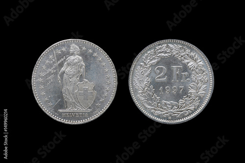 Fotografie, Obraz  Swiss Confederation money coin 2 Francs isolated on black background, 1997 year