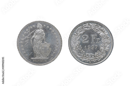 Obraz na plátne Swiss Confederation money coin 2 Francs isolated on white background, 1997 year