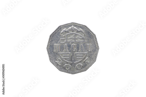Fotografia  Macao 5 pataca coin year 2007 isolated on white background