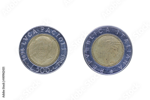 Papel de parede  Italian Lira coin bearing the portrait of Luca Pacioli (1447-1517), released by Italy in 1994 on the 500th anniversary of his treatise Summa de arithmetica (i