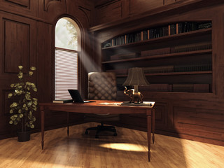 Gabinet z książkami, drewnianymi ścianami i lampą retro