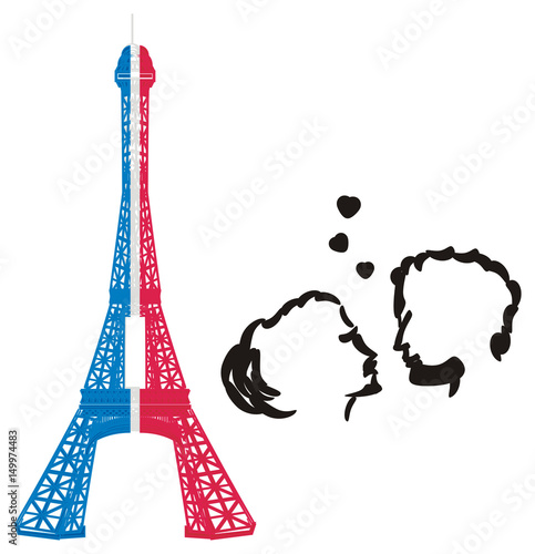 Paris France Eiffel Tower Symbol Illustration Cartoon Mettal Famous Tower Silhouette Travel City French Parisian Couple Love In Love Hearts Buy This Stock Illustration And Explore Similar Illustrations At Adobe Stock