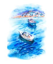 Watercolor Landscape With Sea,...
