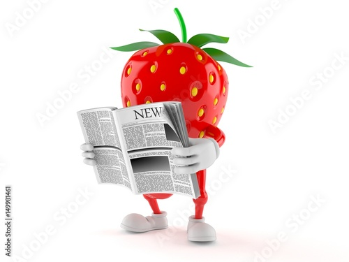 Fotografering  Strawberry character reading newspaper