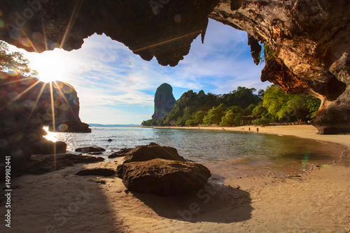 Thailand,Railay sand beach,view from Phra Nang Noi cave