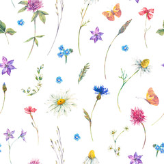 Naklejka Watercolor seamless pattern with wildflowers
