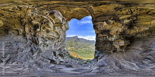 Obrazy na płótnie Canvas Full 360 virtual reality of wallys cave on Lions Head and Table Mountain peaks in Cape Town, South Africa