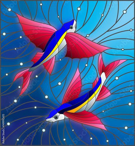 ilustracja-w-stylu-witrazu-z-dwoch-plywajacych-pod-rybami-na-tle-pecherzykow