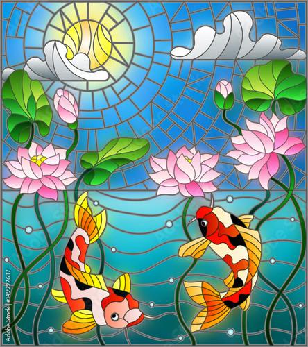 ilustracja-w-stylu-witrazu-z-koi-ryb-i-kwiatow-lotosu-na-tle-nieba-i-wody-slo