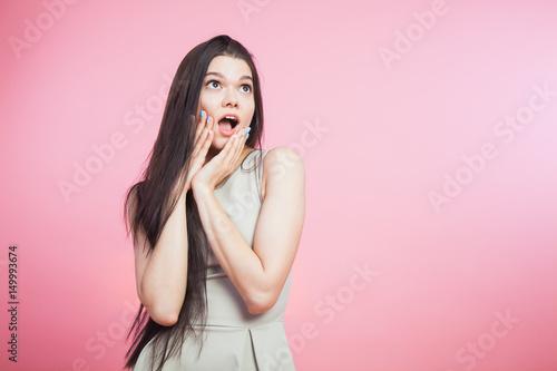 Fototapeta Young girl expression of surprise excitement obraz na płótnie