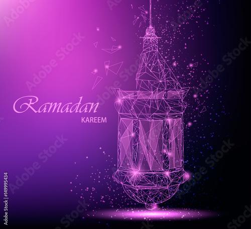 Captivating Ramadan Kareem Beautiful Greeting Card With Traditional Arabic Lantern.  Polygonal Art On Purple Background.