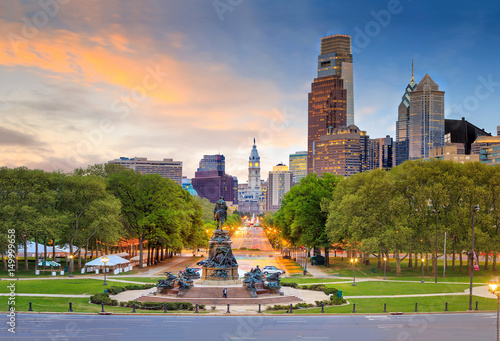 Wall Murals United States Beautiful philadelphia downtown skyline at sunset