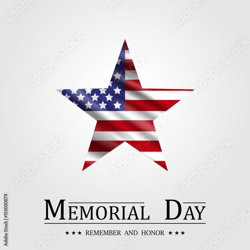 Fotografie, Obraz  Happy Memorial Day, Star and Flag USA