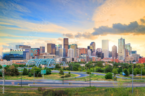 Wall Murals United States Panorama of Denver skyline at twilight.