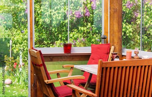 Terrasse Wintergarten Im Mai Zur Fliederblute Buy This Stock