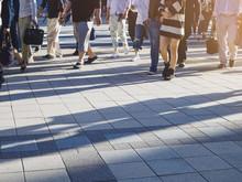 People Walking On Street Sidewalk Hipster Urban City Background
